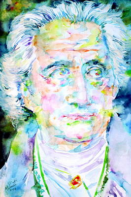 Goethe Painting - Goethe - Watercolor Portrait by Fabrizio Cassetta
