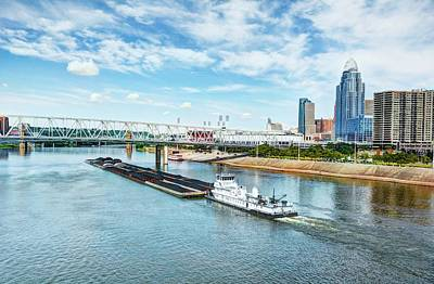Coal Barge Photograph - Going Down River by Tri State Art