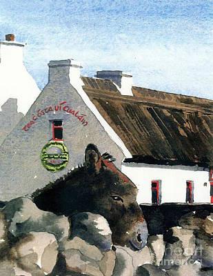 Painting - Galway Rossaveal Going For A Pint ? by Val Byrne