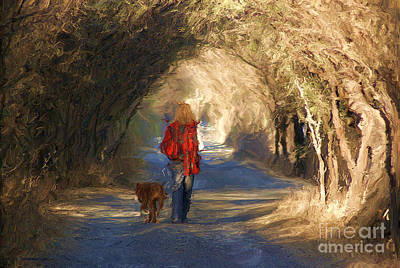 Going For A Walk Art Print by John  Kolenberg