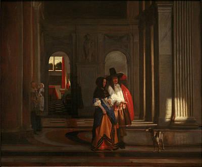 Pieter De Hooch Wall Art - Painting - Going For A Walk by Pieter de Hooch