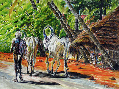 Tamilnadu Painting - Going Home After Bathing by Aparna Raghunathan