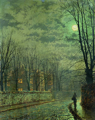 Eerie Painting - Going Home By Moonlight by John Atkinson Grimshaw