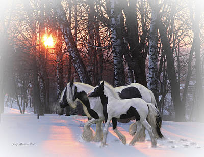 Gypsy Horses Digital Art - Going Home For The Holidays by Terry Kirkland Cook