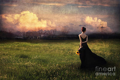 Evening Dress Mixed Media - Going Home by Spokenin RED