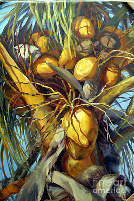 Tropical Plant Painting - Going Nuts by Laurie Hein