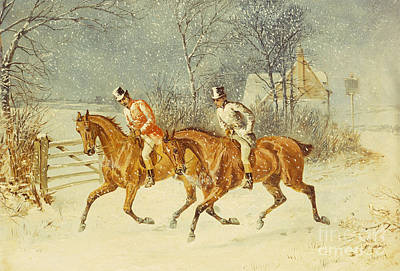 English Riding Painting - Going Out In A Snowstorm by Henry Thomas Alken