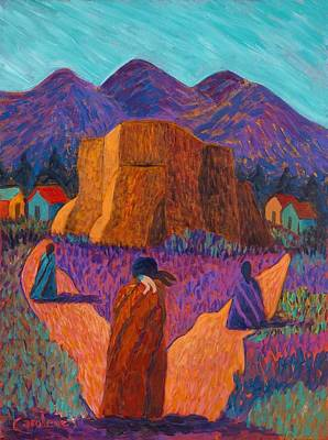 Painting - Going To Church In Ranchos by Carolene Of Taos
