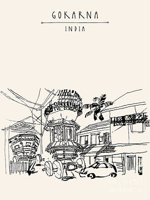 Architecture Digital Art - Gokarna, Karnataka, India. Vector by Babayuka