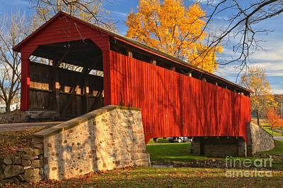 Conestoga Photograph - Gold Above The Poole Forge Covered Bridge by Adam Jewell