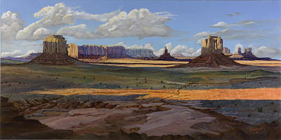 Navajo Painting - Gold Across The Valley Monument Valley by Timithy L Gordon