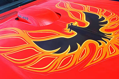 Photograph - Gold And Black Firebird Emblem On Red Trans Am by Gill Billington