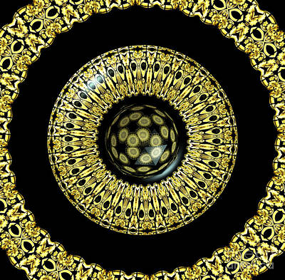 Photograph - Gold And Black Stained Glass Kaleidoscope Under Glass by Rose Santuci-Sofranko
