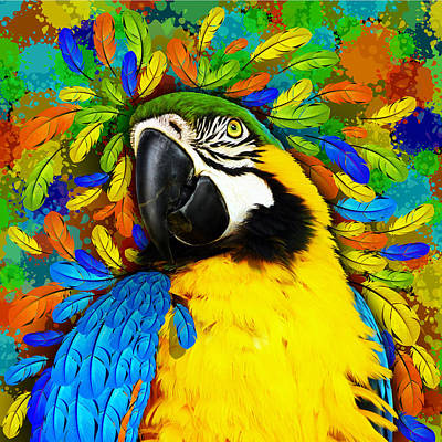 Macaw Mixed Media - Gold And Blue Macaw Fantasy by BluedarkArt Lem