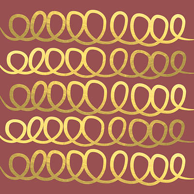 Royalty-Free and Rights-Managed Images - Gold and Marsala Loops by Linda Woods