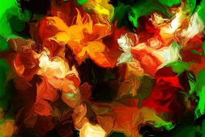 Digital Art - Gold And Red Blossoms  by David Lane