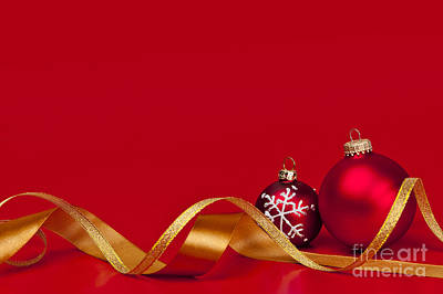 Gold And Red Christmas Decorations Print by Elena Elisseeva