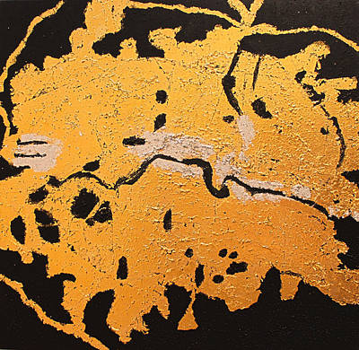 London City Map Painting - Gold And Silver At Night by David K Parker