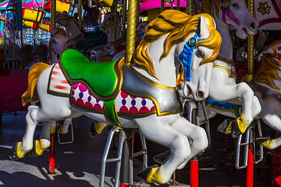 Horsey Photograph - Gold And White Carrousel Hourse by Garry Gay