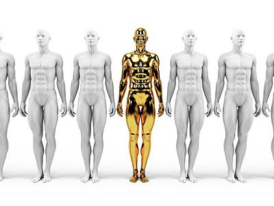 Gold And White Human Models Art Print