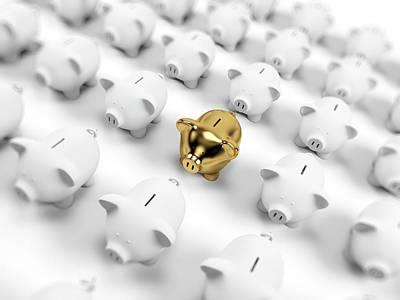 Gold And White Piggy Banks Print by Sebastian Kaulitzki