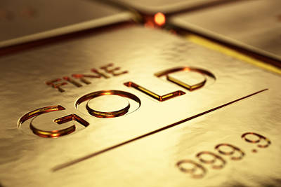 Reflections Digital Art - Gold Bars Close-up by Johan Swanepoel