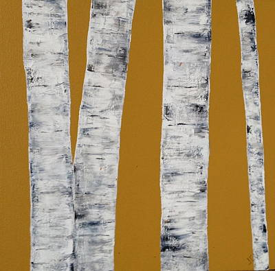 Gold Birches Art Print by Judith A Cahill