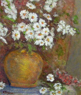 Gold Bowl And Daisies Art Print by Richard James Digance