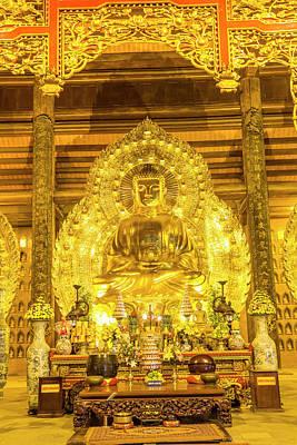 Binh Photograph - Gold Buddha, Bai Dinh, Ninh Binh by Peter Adams