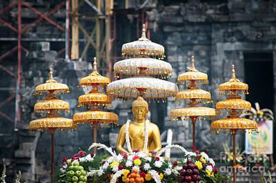 Jawa Photograph - Gold Buddha  by Danu Primanto