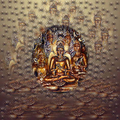 Gold Buddha Art Print by Harsh Malik