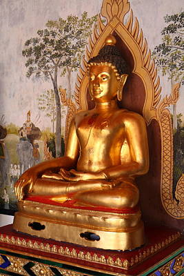 Phrathat Photograph - Gold Buddha - Wat Phrathat Doi Suthep - Chiang Mai Thailand - 01131 by DC Photographer