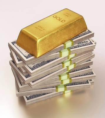 Gold Bullion And Us Dollars Print by Ktsdesign