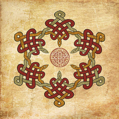 Painting - Gold Burgundy Celtic Knot by Kandy Hurley