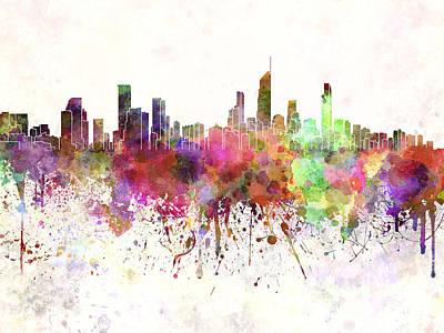 Splatter Digital Art - Gold Coast Skyline In Watercolor Background by Pablo Romero
