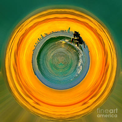 Gold Coast Surfer Circagraph Art Print by Az Jackson
