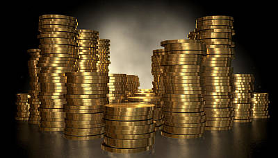 Values Digital Art - Gold Coin Stacks by Allan Swart