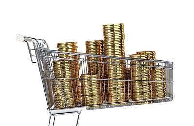 Supermarket Photograph - Gold Coins Inside A Supermarket Trolley by Leonello Calvetti