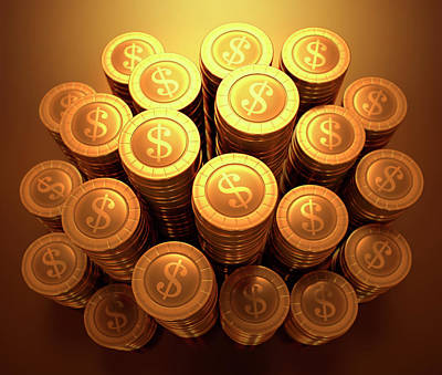 Coins Photograph - Gold Coins by Ktsdesign