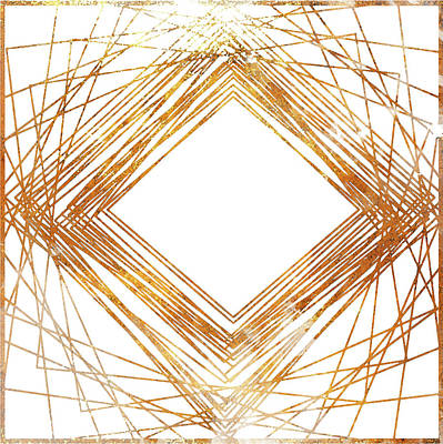 Diamond Drawing - Gold Diamond by South Social Studio