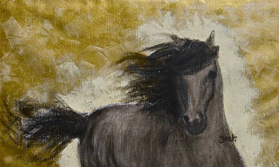Charcoal Horse Drawing - Gold Dust by Arijeet Chanda