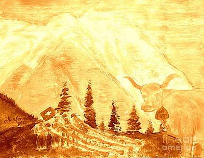 Gold Eiger Mountain Above Grindelwald Switzerland 2 Art Print by Richard W Linford