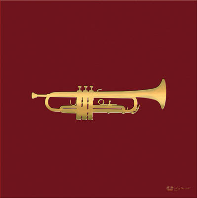 Digital Art - Gold Embossed Trumpet On Dark Red Background by Serge Averbukh