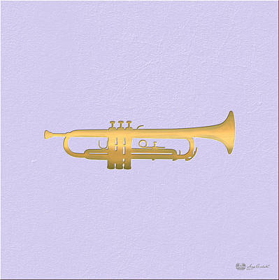 Digital Art - Gold Embossed Trumpet On Light Lavender Background by Serge Averbukh