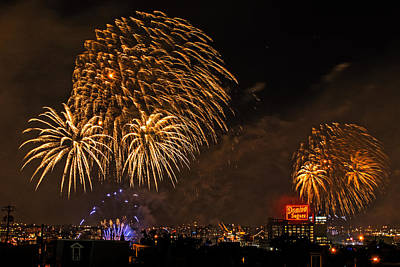 Photograph - Gold Fireworks Over Baltimore Harbor by Bill Swartwout