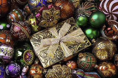 Embellishments Photograph - Gold Gift Box by Garry Gay