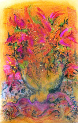 Pastel - Gold Glass Saffron-pink Flowers by Josie Taglienti