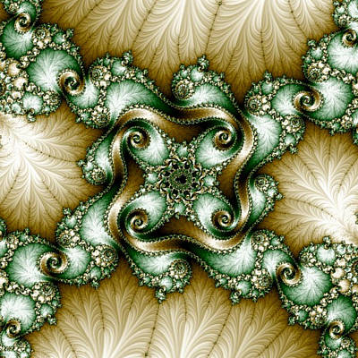 Digital Art - Gold-green Fractal by Karen Buford