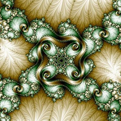 Digital Art - Gold-green Fractal by Karen Buford
