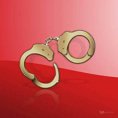 Digital Art - Gold Handcuffs On Red Background by Serge Averbukh